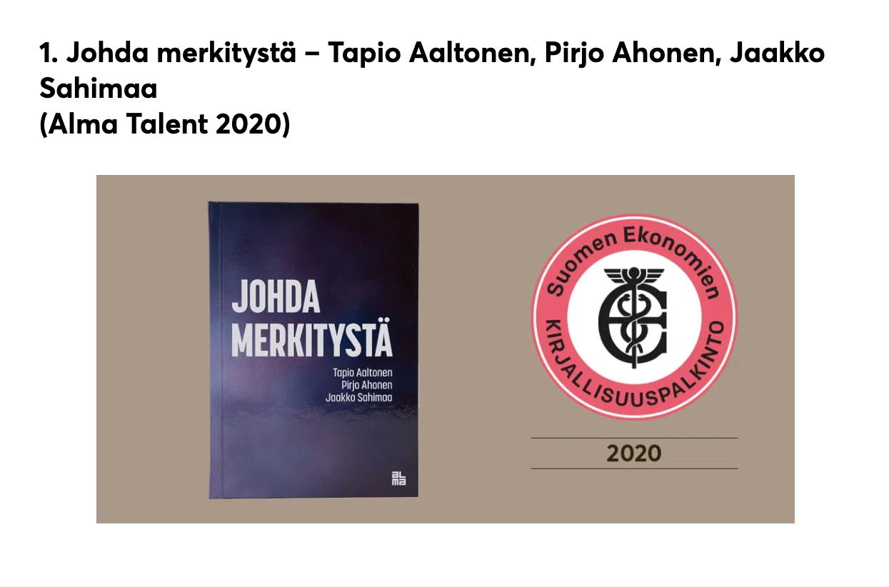Äänestä Johda merkitystä -kirjaa Suomen parhaaksi bisneskirjaksi!